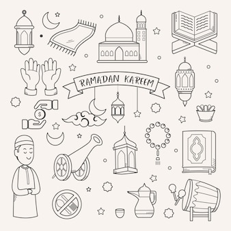 ラマダンカリームグリーティングカード手描きの背景