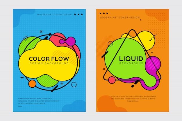ポップアートスタイルのダイナミックでモダンな液体と液体のカバーデザイン