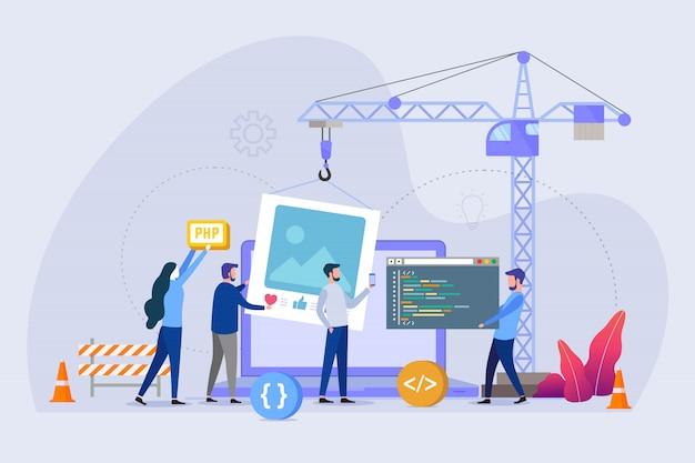 建設中のウェブサイトページベクトル図の概念