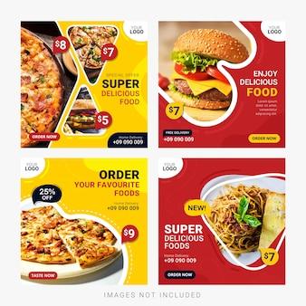 Пищевые социальные медиа баннеры пост набор шаблонов