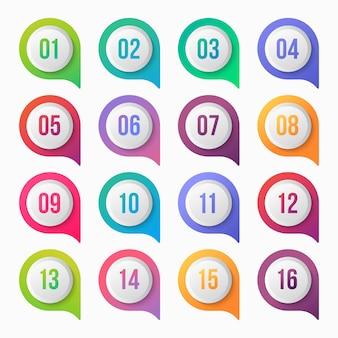 番号箇条書きポイントカラフルなグラデーションアイコンデザイン