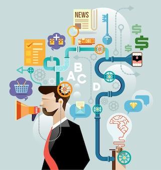 ビジネスマンはアイデアコンセプトを作成する