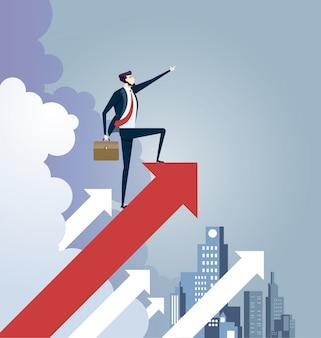 矢印記号の上に立っている実業家。リーダーシップの概念ベクトル