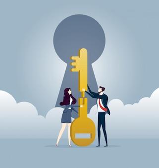 ビジネスチームワークは一緒に鍵をジグソーパズルします。事業コンセプトベクトル