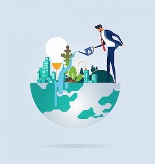 ビジネスマンの保護と環境の保全