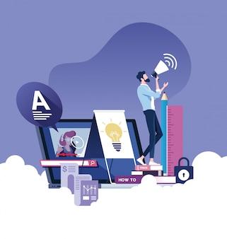 Образование онлайн или электронное обучение векторный концепт