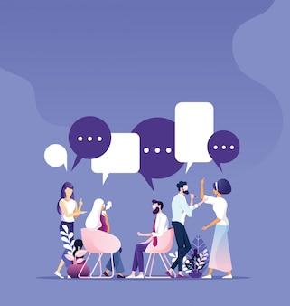 ビジネスチームワーク会議のブレインストームと作業の概念