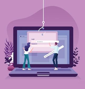 データフィッシング、コンピューターのラップトップのコンセプトにオンラインの詐欺をハッキング