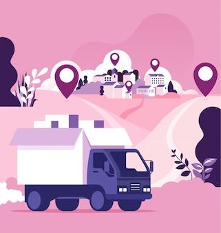 世界規模の配送および貨物配達の概念
