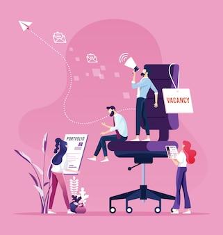 Бизнесмен нанимает новых сотрудников. концепция найма