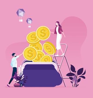 ビジネスの男性と女性が財布にお金を集めることを試みています。仕事からお金を節約