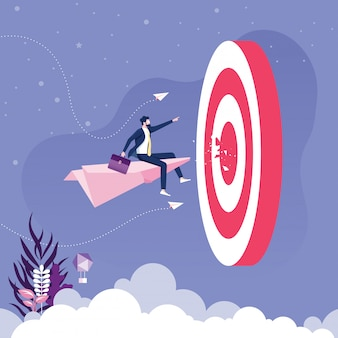 紙飛行機を飛んでいるビジネスマンはターゲットに行きます。事業コンセプトベクトル