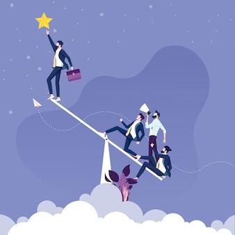 ビジネスマンは星を得るためにシーソーを使用します。チームワークの概念