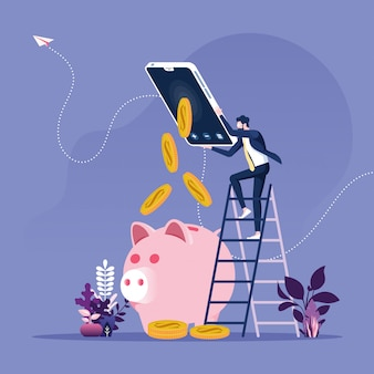ビジネスマンは、スマートフォンのコンセプトでオンラインでお金を稼ぐ