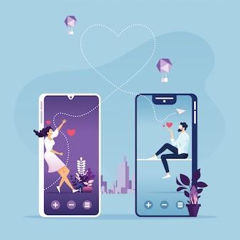 オンラインデートのベクトルのスマートフォンのコンセプトとかわいいカップル
