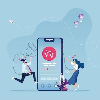 オンライン音楽エンターテイメントベクトル概念