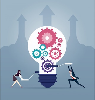 ビジネスの人々の創造的なアイデアのイラスト。アイデアの創造とチームワークのコンセプト