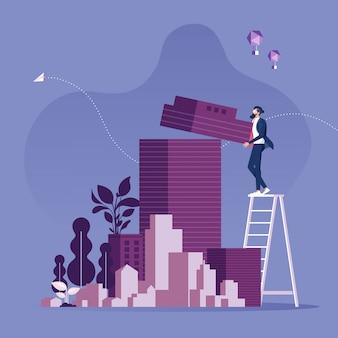 Иллюстрация предпринимателя застройщика недвижимости