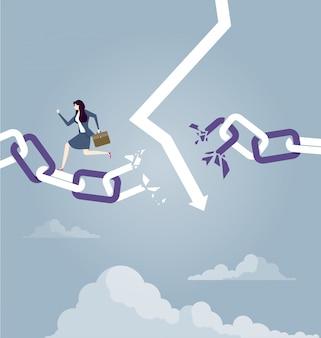 Предприниматель бежит сломанной цепи