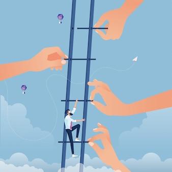 大きな手が階段を作り、ビジネスマンが高く上がるのを助けます。ビジネスの成長とチームワークの概念