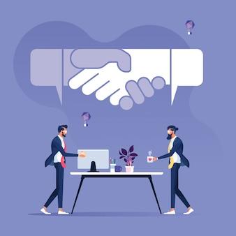 Два бизнесмена поговорить о завершении сделки с речью пузырь формы дрожания рук-бизнес-концепция соглашения