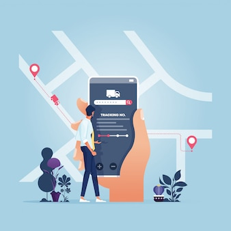 Бизнесмен с приложением отслеживания доставки-бизнес-концепция технологии