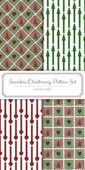かわいいシンプルなシームレスクリスマスパターンセット