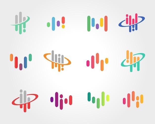 抽象的な音波のシンボルデザイン