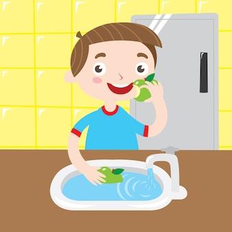 あなたの果物を子供のポスターのデザインシリーズで洗う