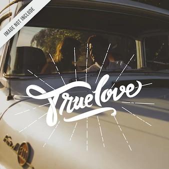 Настоящая любовь типографии стороны надписи