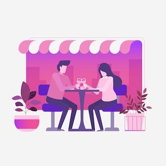 カフェでロマンチックなカップルディナー