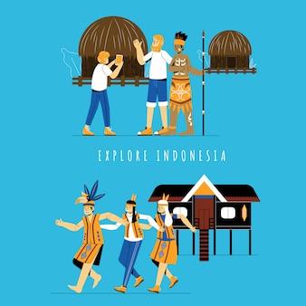 インドネシアのエトニックプレイスを探索する観光客