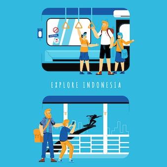 インドネシアの概念図を探索する観光客