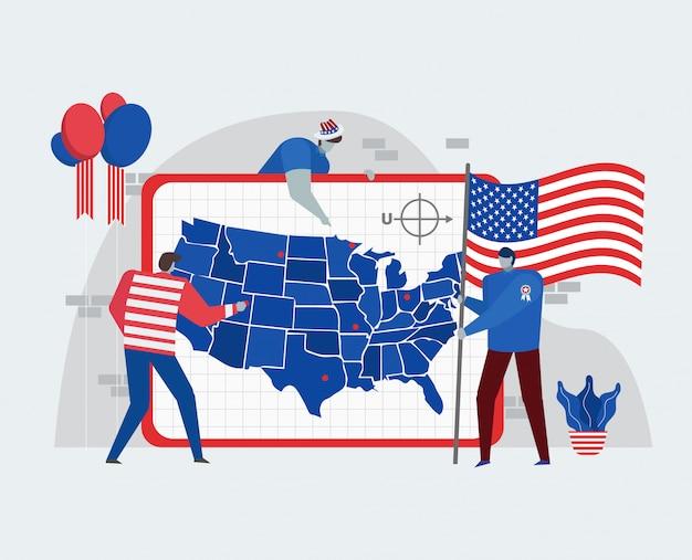 アメリカ独立記念日を祝うアメリカ地図コンセプト