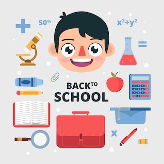 学校の必需品に戻る子供