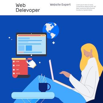 ラップトップで作業するウェブサイト開発者