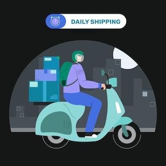 オートバイの宅配便の配達