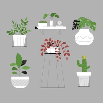 白い鍋にモダンなミニマリストの緑の植物