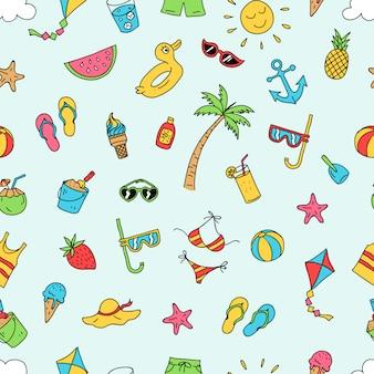 夏のビーチのシームレスなパターンベクトルデザイン