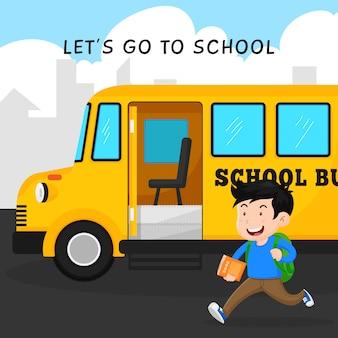 Счастливый студент идет в школу с дизайном иллюстрации вектора автобуса