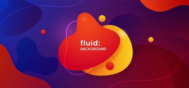 動的な色の流体の背景を持つ幾何学的な液体形状バッジ