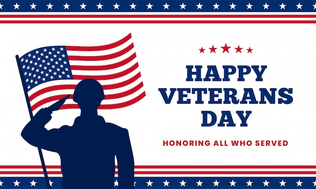 務めたすべての人を称える幸せな退役軍人の日。ベクトル図の背後にあるアメリカ国旗を持つ兵士の軍事敬礼シルエット。