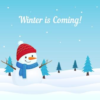 Сцена зимы с милым снеговиком в иллюстрации вектора снега. зима близко!