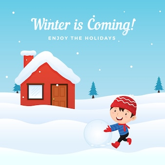 幸せな子供は、冬の雪の家の前で雪だるまを作る雪だるまを楽しむ