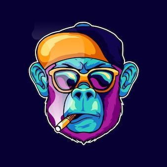 クールな顔の猿の煙のタバコはスタイリッシュなメガネを着用し、帽子の帽子のイラストのマスコットのロゴデザイン