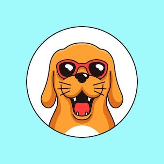 サングラスを身に着けているクールな幸せな犬キャラクターマスコットシンプルな概要図
