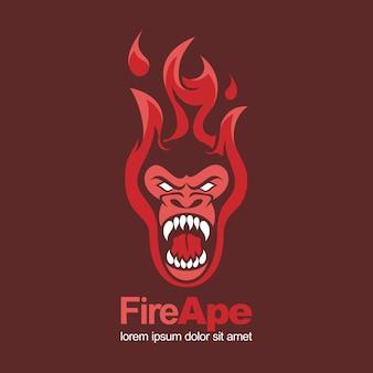 火赤猿サル怒っているマスコットロゴ