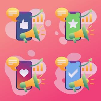 Мобильный маркетинг в социальных сетях растущий набор иконок