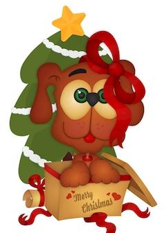 Симпатичная щенка рождественская открытка