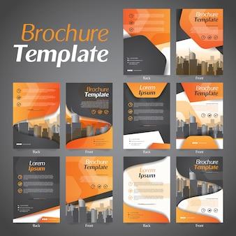 ビジネスパンフレットチラシデザインレイアウトテンプレートのセット